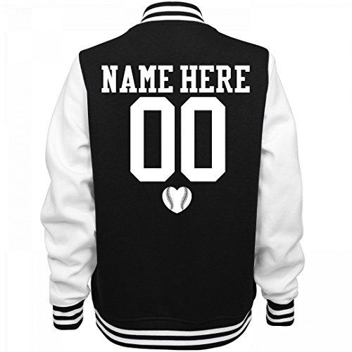 Cute Baseball Girlfriend Name: Ladies Fleece Letterman Varsity Jacket (Customized Fleece Jackets)