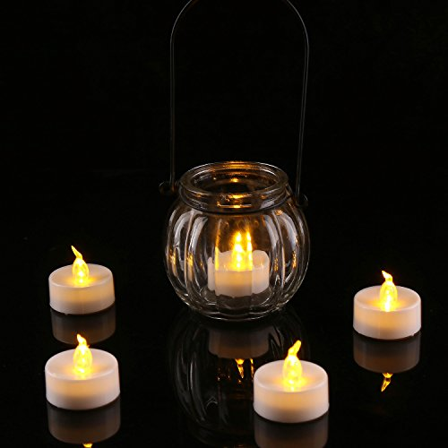homemory flameless led tea lights amber yellow light bulb pack of 12 battery operated votive. Black Bedroom Furniture Sets. Home Design Ideas