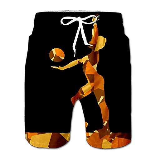 (Summer Shorts Pants Gymnast Women with Ball in Abstract Mosaic Mens Golf Sports Shorts S)