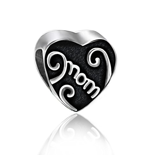 (The Kiss Love Mom Mother Center of My Heart Family 925 Sterling Silver Bead Fits European Charm Bracelet (Silver 5) )