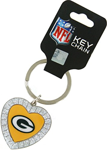 Rico NFL Green Bay Packers Rhinestone Heart Keychain