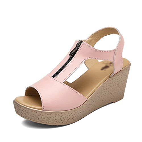 Thick Sandals Roman Shoes Leisure Bottom Size Black ZCJB Wedge Heels High Summer Female 35 Pink Color wHXcgUvHq