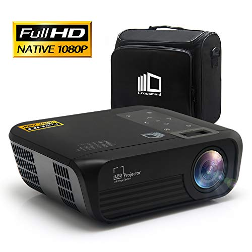 CROSSMIND Smart WiFi Projector, Portable Native 1080P Full HD LED Video Projector, 5500 Lumen Movie Projector with Wireless Casting