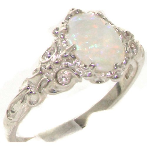 (925 Sterling Silver Real Genuine Opal Womens Anniversary Ring - Size 8 )