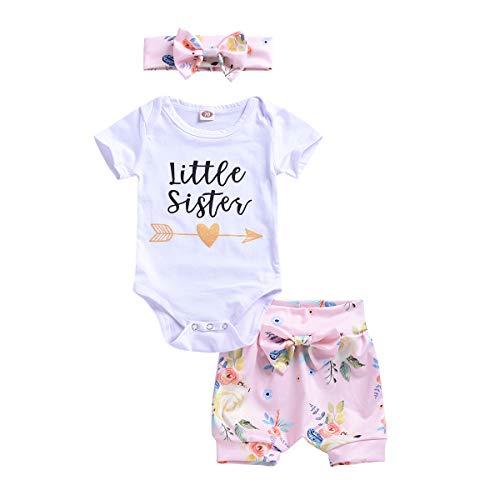 ViWorld Baby Girls Clothes Little Big Sister T-Shirt Romper Pant Set (Little Girl Short Set, 6-12 Months)]()