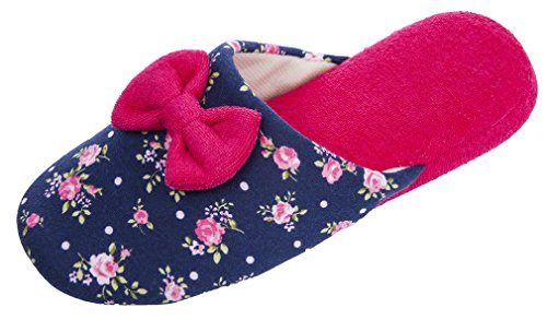 Mixin Dames Casual Strik Bloem Patroon Indoor / Outdoor Slippers Blauw En Rood