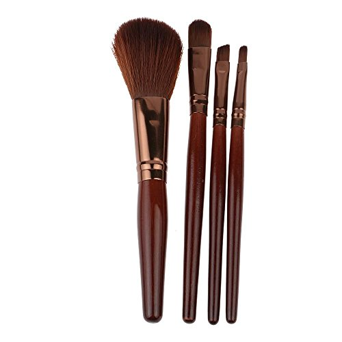 Coffee Blush (HuntGold 4Pcs Women Professional Dark Coffee Blush Face Eye Shadow Makeup Comestic Brushes Toiletry Beauty Set)