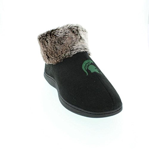 Comfy Feet MSU14-1 - Michigan State Spartans Faux Sheepskin Furry Top Slippers - Small