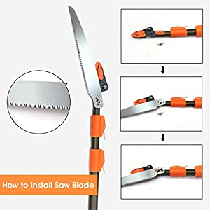 Finether Telescopic Pole Saw Long Reach Pole Pruner Lightweight Tree Trimmer with Bypass Pruner, Saw Blade, Guide Rod |Work Gloves for Free | Extends from 5.91 to 13.12 ft
