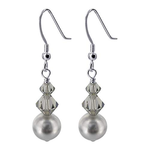 (925 Sterling Silver Grey Faux Pearl Black Handmade Drop Earrings Made with Swarovski Crystals)