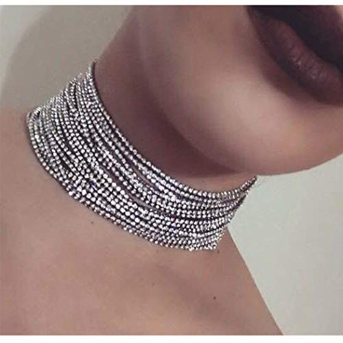 Aukmla Multi Layered Chain Crystal Rhinestone Choker Fully Diamond Statement Necklace Wedding Jewelry for Women and Girls