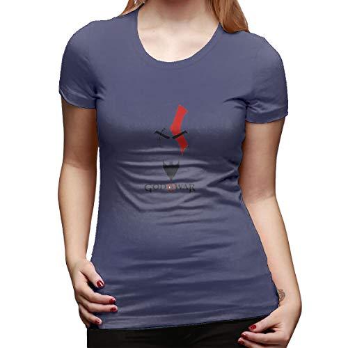 SHENGN Women Personalized Cute Tees God of War Logo Short Sleeve Cool T Shirts Navy S