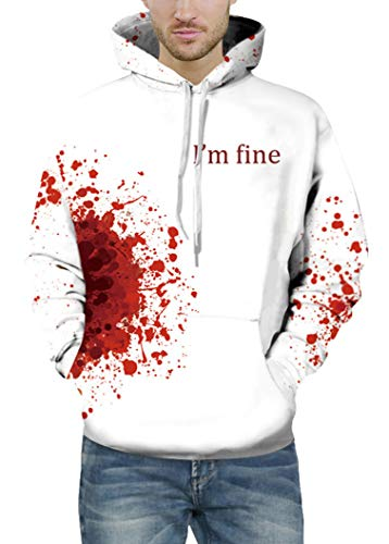 Prettyard Men Women Bloody I'm fine Saying Casual Hipster White Sweatshirt Hoodie - US(Men:L = Women:16/XL) IgnoreOurTag by Prettyard