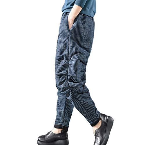 - ANJUNIE Women Vintage Retro Harem Pants Cotton Linen Baggy Pocket Long Trousers Pants (Navy,XXL)