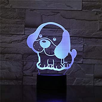 Lámpara de noche 3D con diseño de carlino (7 colores, mando a distancia, nota, dormitorio, decoración, regalo de Navidad para niños)