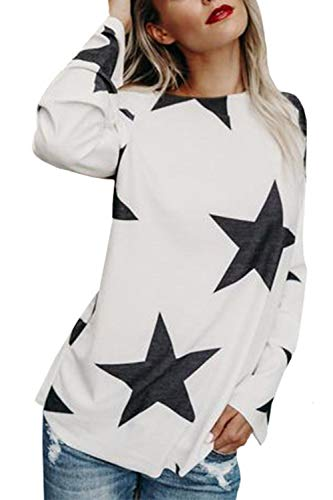 Occasionale Floreale Spalla Camicia Pullover Donne Le Una White Sono Pentagramma Libero UnYznqFx