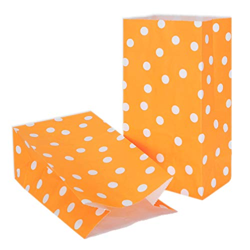 Orange Paper Party Favor Bags Printed Kraft Paper Bags Paper Gift Bags with Polka dot for Sweets Biscuits Nuts Chocolates Christmas Gifts Birthday Wedding Party Supplies (50 Pcs Orange)