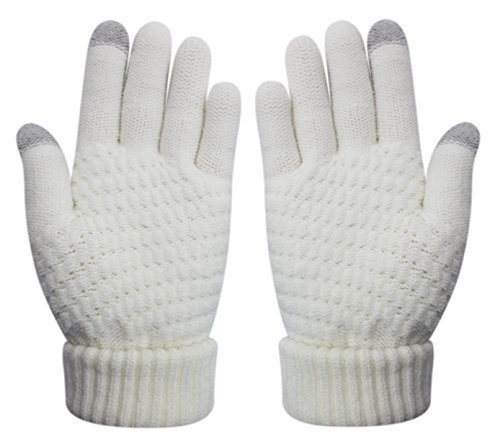 Womens & Girls Touch Screen Warm Soft Winter Knit Texting Gloves Cute Fashion Mittens for Smartphone Iphone Ipad(White)