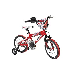"Dynacraft Hot Wheels Boys BMX Street/Dirt Bike with Hand Brake 14"", Red/White/Black"