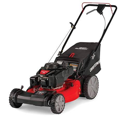 Craftsman M215 159cc 21-Inch 3-in-1 High-Wheeled FWD Self-Propelled Gas Powered Lawn Mower with Bagger (Best Small Gas Lawn Mower)