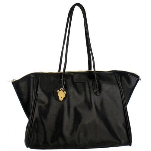 CAIS Black Everyday Oversize Double Handle Zippered Office Tote Shoulder Bag Shopper Hobo Satchel Purse Handbag, Bags Central