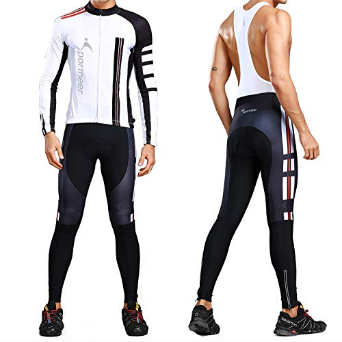 Men's Cycling Jersey Bicycle Bib Pants Set, 4D Padded Cycling Leggings + Long Sleeve Shirt Tights for Outdoor Cyclist Riding Bike Wear, Large