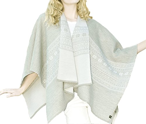 Norwegian Womens Black 100% Merino Wool Wrap Cape Shawl Poncho Sweater Coat (Light Grey) by Vrikke