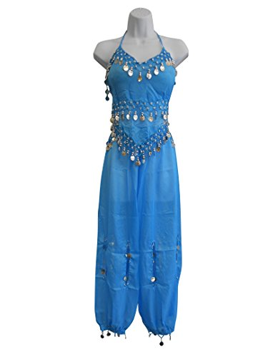 [Professional Belly Dance Multi-Color Genie Belly Dance Costume for Women Halloween Costumes of Adults Hot Belly Dancer Skirt Turquoise Set w/ Gold] (Genie Costumes For Teens)