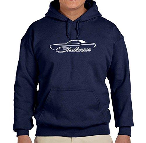 1970-74 Dodge Challenger Hardtop Classic Outline Design Hoodie Sweatshirt 2XL Navy Blue