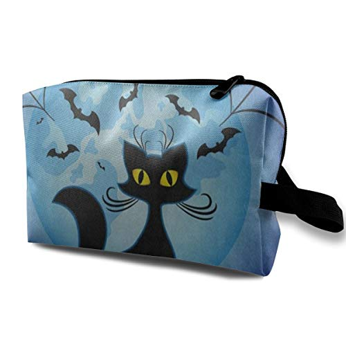 Makeup Bag Hipster Cat Full Moon Spider Web Halloween Portable Travel Multifunction Toiletry Bags Hot Holder For -