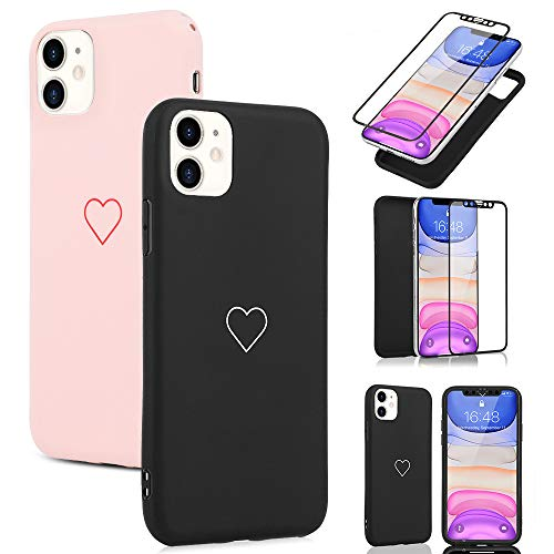 LAPOPNUT 2 Pack Case for iPhone 11 Pro Max Cute Love-Heart Shape Matte Case [ Tempered Glass Screen Protector ] Anti…
