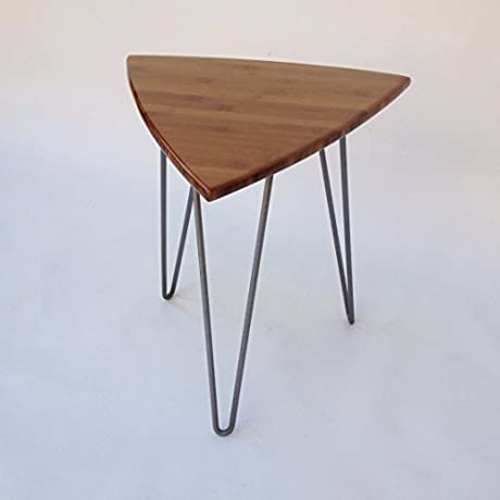 Guitar Pick Side Table Mid Century Modern Triangle Shaped End Table New In Caramelized Bamboo With Hairpin Legs