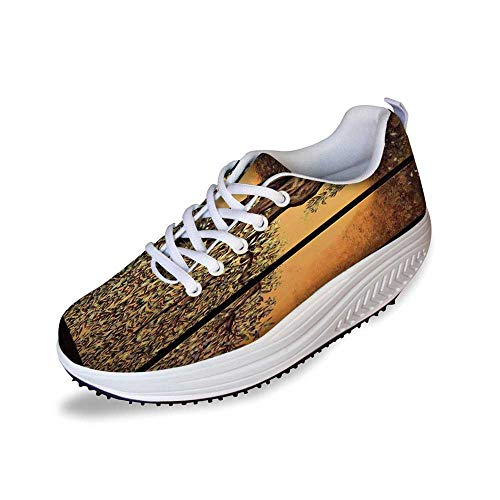 (Tree of Life Stylish Shake Shoes,Triptych of an Old Mature Olive Tree Mediterranean Greece Style Nature Graphic Decor for Women,6)