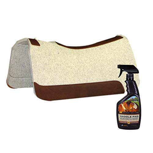 5 Star Equine – 7/8″ Thick Western Contoured Natural Pad – The All Around 30″x30″. Great for Barrel Racing, Trail Riding, Roping, Etc. Free Saddle Pad Cleaner & Soak Shipped Separately
