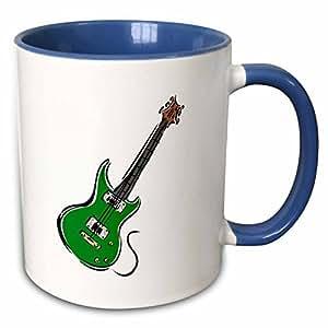 3dRose Susans Zoo Crew Music - green electric guitar music graphic - 11oz Two-Tone Blue Mug (mug_164284_6)