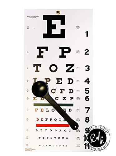 EMI OCC-SNW Occluder Plus Snellen Eye Test Exam Plastic Wall Chart 22 x 11 in. 2 piece set ()