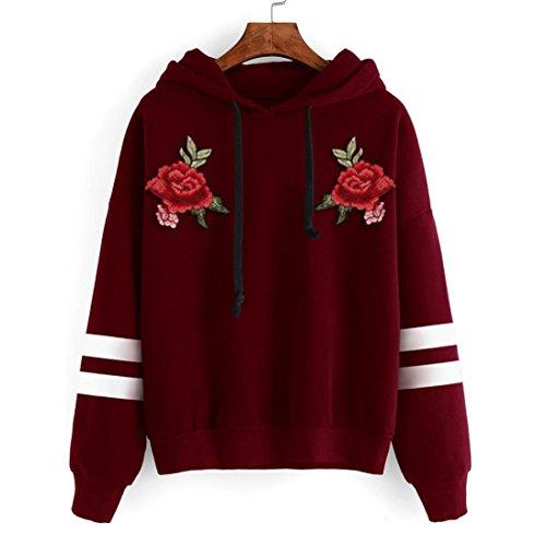 Rawdah El paño grueso y suave de la camiseta de la sudadera con capucha de la manga larga de las mujeres aplica la blusa de las tapas del suéter Rojo