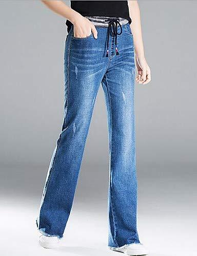 YFLTZ Pantalon Jeans Femme en Coton - De Base Couleur Unie Light Blue