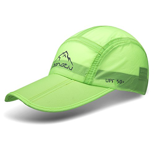 WINCAN Summer Baseball Cap With Desire Large Bill Quick Dry Mesh Back UPF50 Cooling Portable Sun Hats For Sports Golf Running Fishing Outdoor Research (B1-Fluorescent Green)