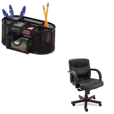 KITALEMA42LS10MROL1746466 - Value Kit - Best Madaris Mid-Back knee Tilt Leather Chair w/Wood Trim (ALEMA42LS10M) and Rolodex Mesh Pencil Cup Organizer (ROL1746466) by Best