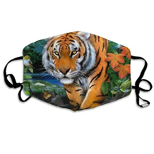 HOODSWOP Dust Mask for Women and Men Tiger Butterfly Bird Printed Anti Pollution Face Mask Anti-dust Mouth Mask