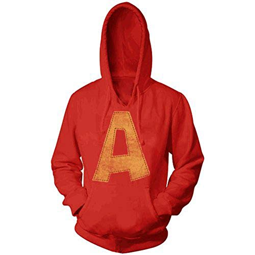 Alvin and the Chipmunks Alvin A Distressed Adult Red Hoodie Sweatshirt (Adult Small)