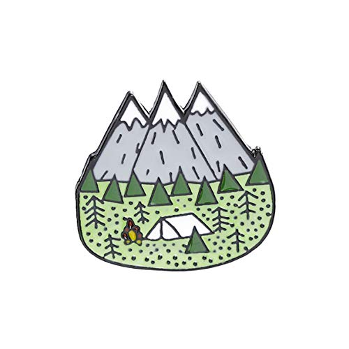 Essencedelight Enamel Brooch Pins Cute Mountain Forest Tent Cartoon Badge Travel Brooch Women Men Lapel Pin Clothes Bags Decor