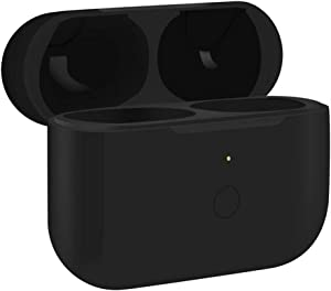 Charging Case for Air-pods Pro, Wireless Charger Case Replacement with Pairing Sync Button, Come with Silicon Case Cover -Earbuds not Included (Black)