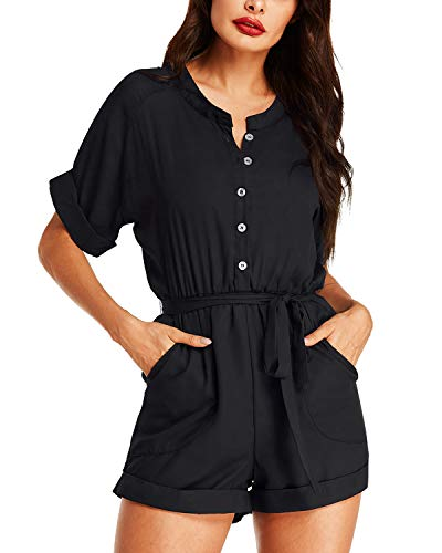 Auxo Womens Short Sleeve Romper Jumpsuit Summer V Neck One Piece Button Tie Playsuit Jumper 08-Black XL