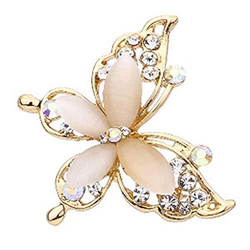 Jeinourlfie Women Crystal Butterfly Rhinestone Brooch Pin Wedding Bridal Hairpins Party Gift Decor Light Yellow Gold Color