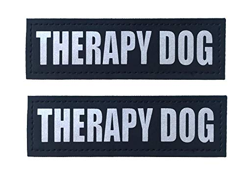 ALBCORP Reflective Therapy Dog Patches with Hook Backing for Service Animal Vests/Harnesses Large (6 X 2) Inch