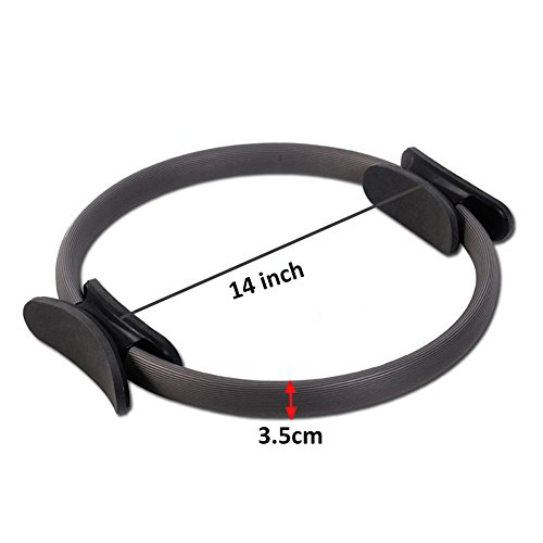 Heckia Pilates Magic Ring, Pilates Resistance Fitness Ring 14'' Exercise Fitness Circle Full Body Toning Ring for Women, Black by Heckia (Image #1)