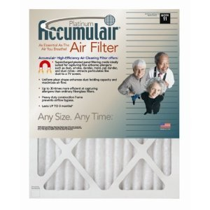 19x22x1 (Actual Size) Accumulair Platinum 1-Inch Filter (MERV 11) (4 Pack)