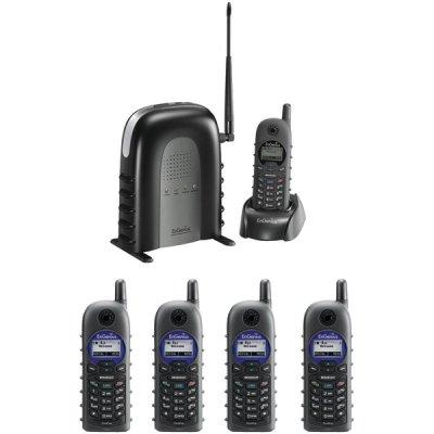 Engenius Durafon1xpidw 900 Mhz Long-Range Cordless Phone System With Base Handset & Four 2-Way Radio Handsets